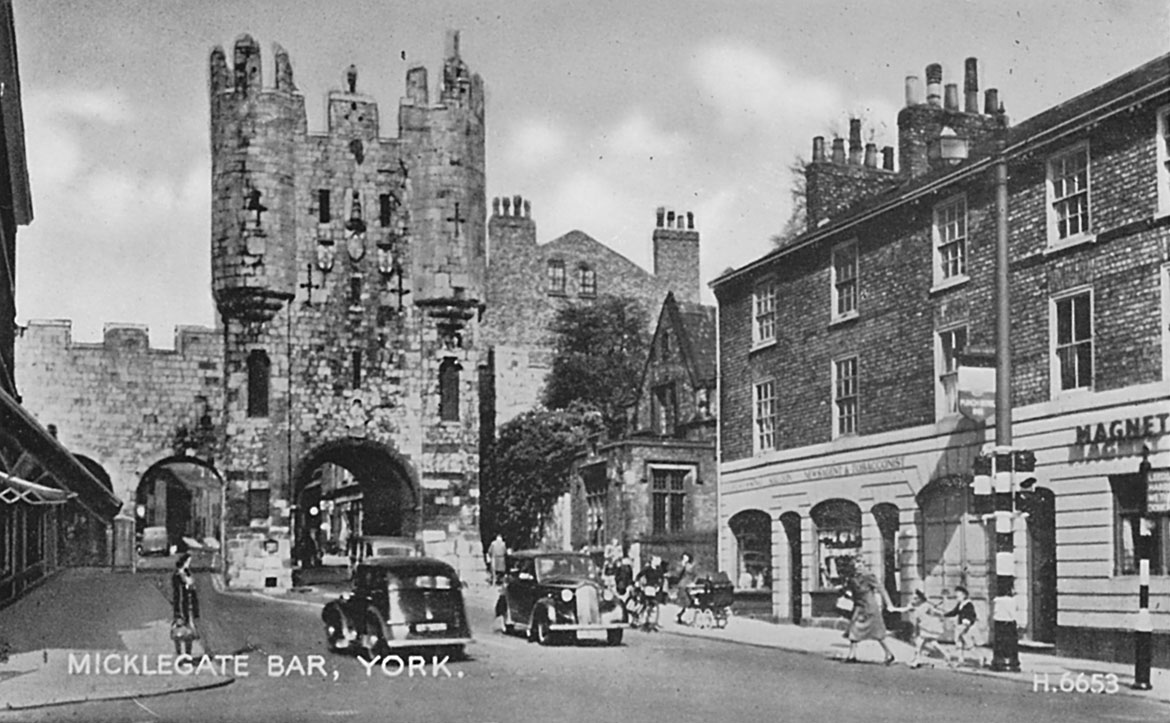 An old postcard of Micklegate, York